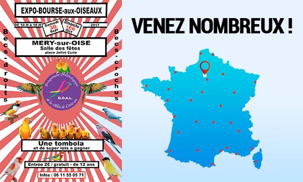 EXPO-BOURSES aux OISEAUX – Mery sur Oise – 30/09/17 au 1/10/17